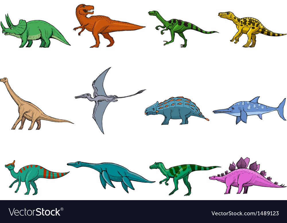 Set of dinosaurs vector | Price: 3 Credit (USD $3)