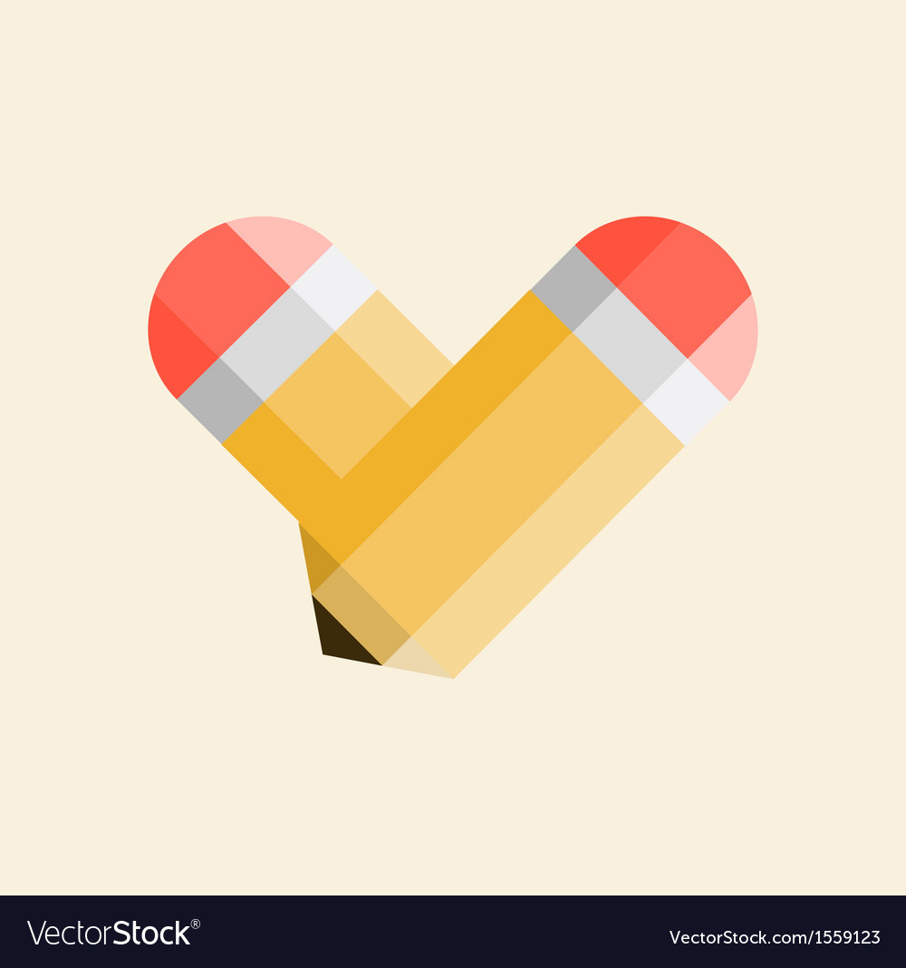 Two yellow pencils forming a shape of a heart vector | Price: 1 Credit (USD $1)