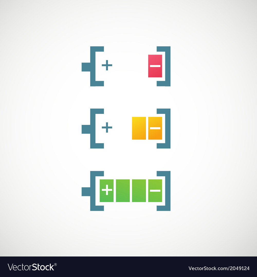 Battery charge level indicators icon vector | Price: 1 Credit (USD $1)