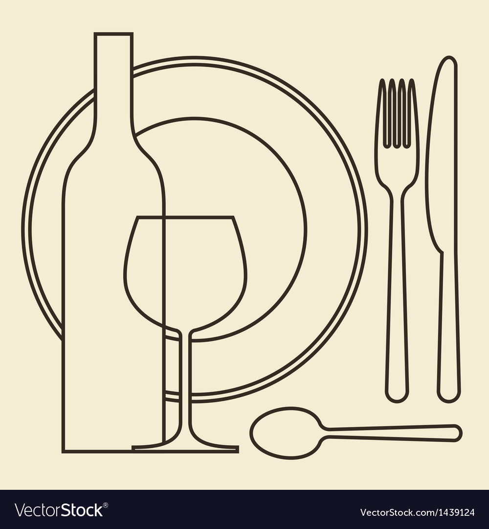 Bottle wineglass plate and cutlery vector | Price: 1 Credit (USD $1)