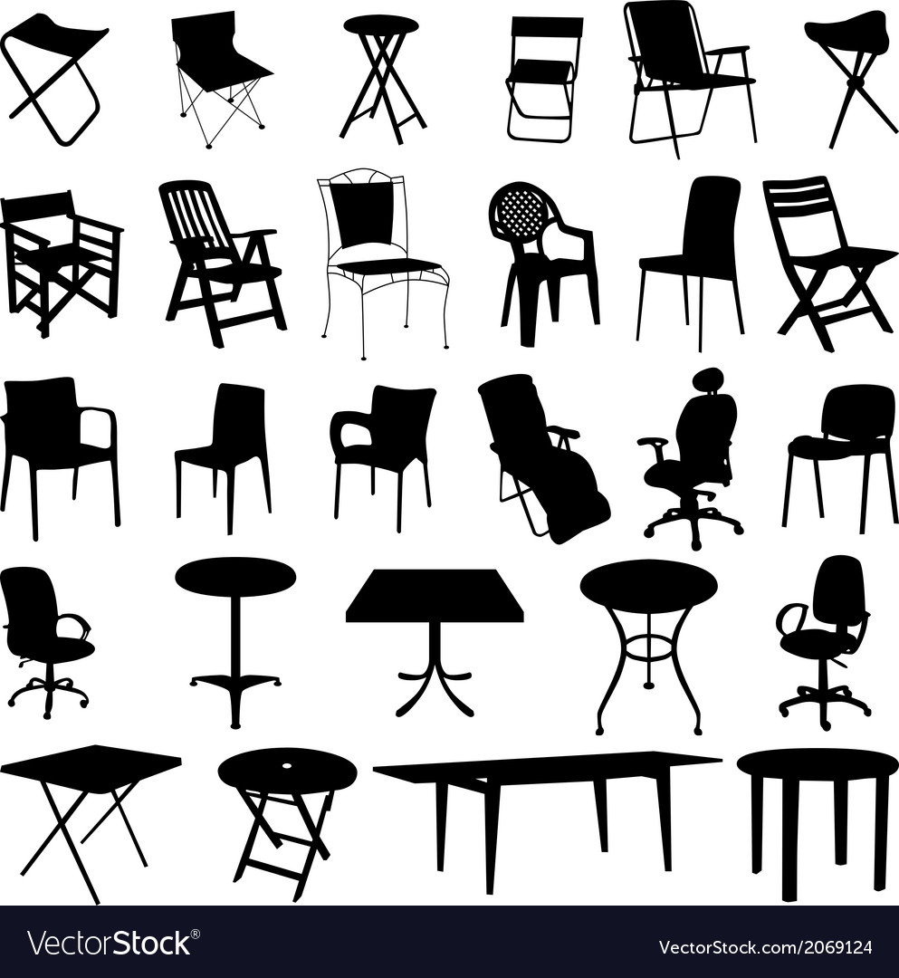 Chair and table silhouette vector | Price: 1 Credit (USD $1)