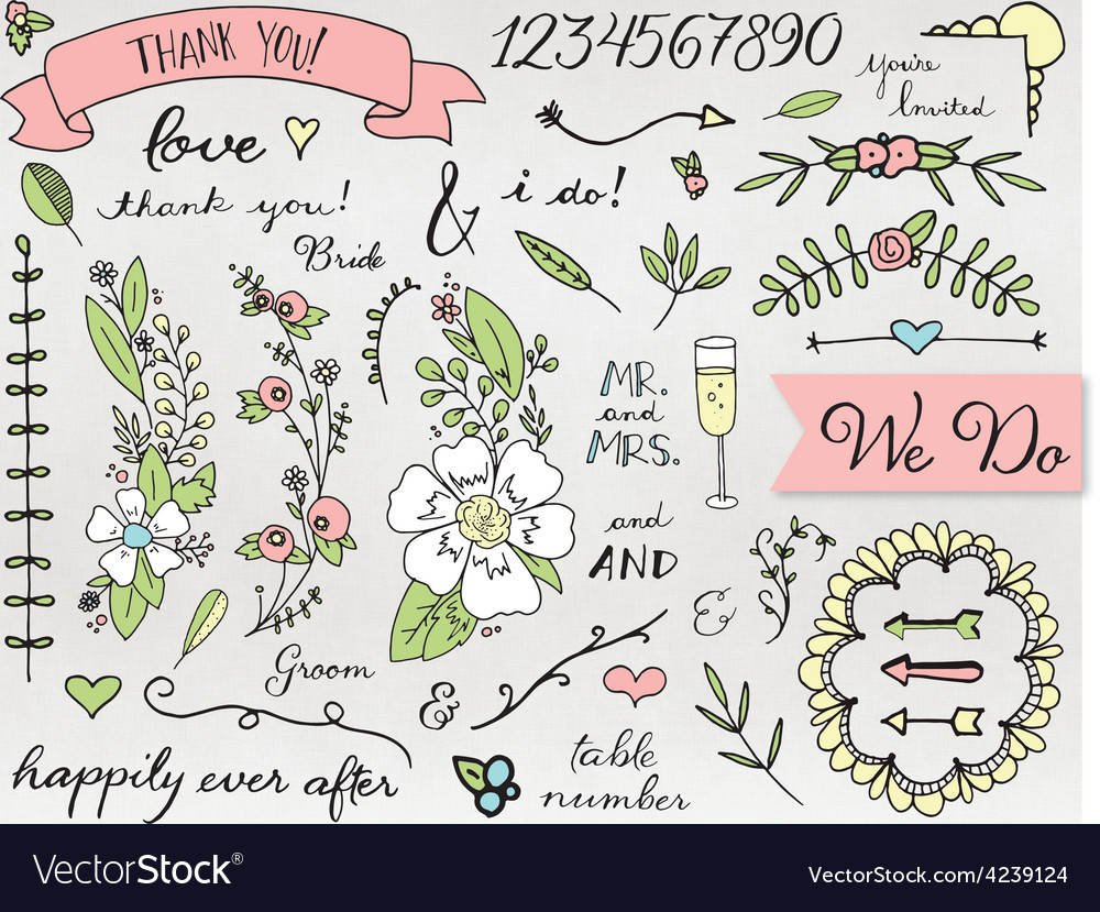 Doodle wedding clip art vector | Price: 1 Credit (USD $1)