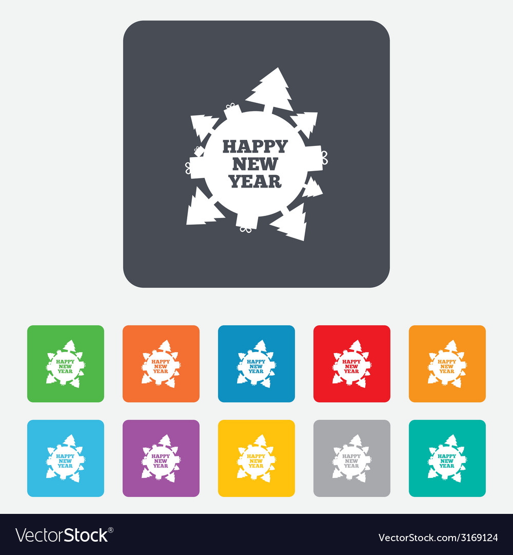 Happy new year globe sign icon gifts and trees vector | Price: 1 Credit (USD $1)