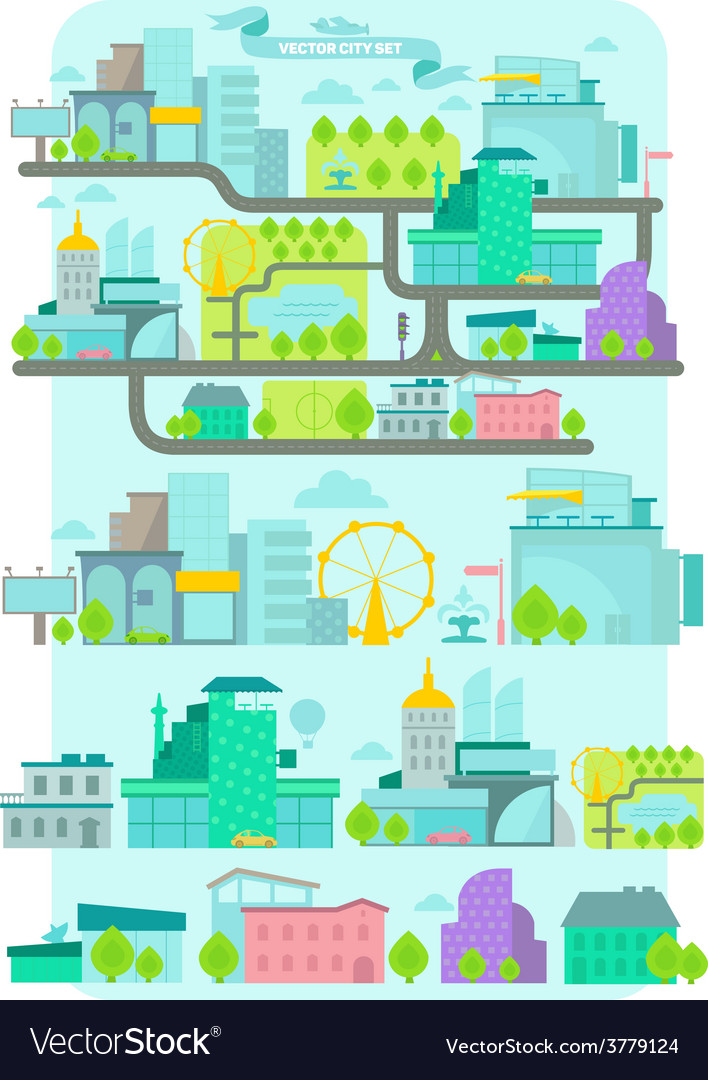 Modern city set vector | Price: 1 Credit (USD $1)
