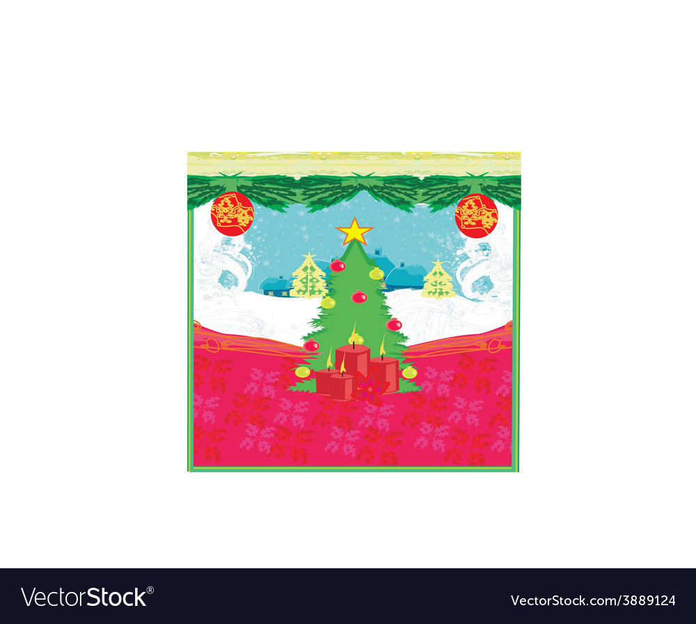 Winter scene with snow and trees vector | Price: 1 Credit (USD $1)