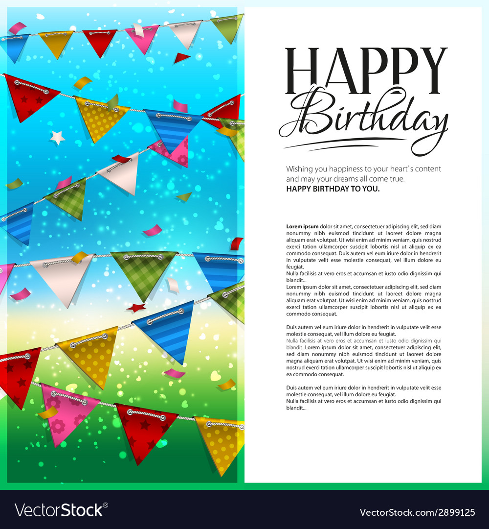 Birthday card with confetti and bunting flags vector | Price: 1 Credit (USD $1)