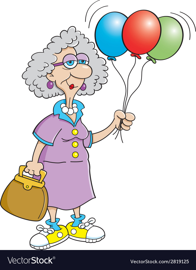 Cartoon senior citizen lady holding balloons vector | Price: 1 Credit (USD $1)