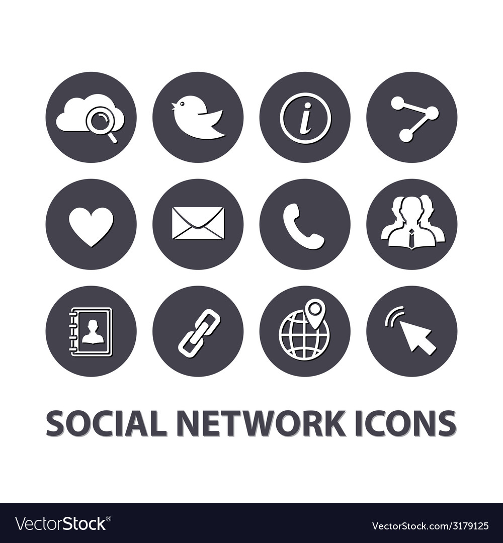 Flat social network icons set vector   Price: 1 Credit (USD $1)