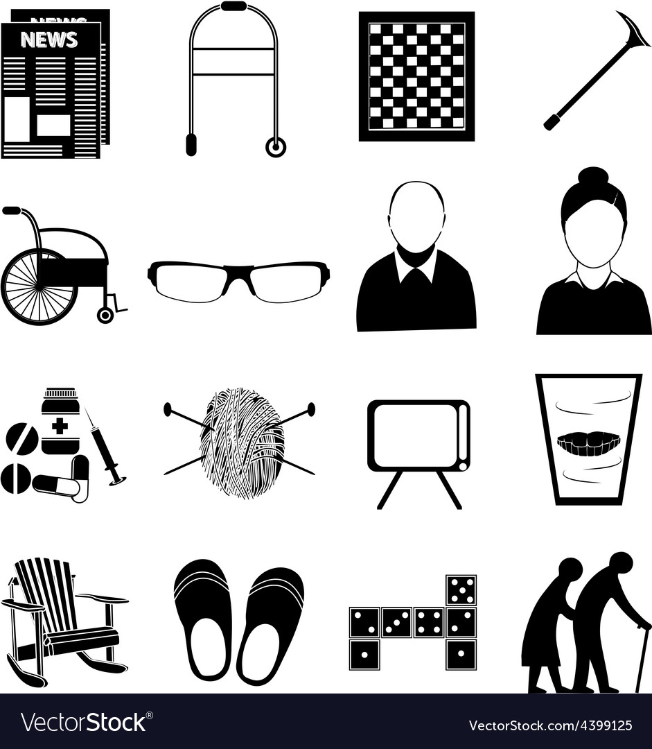 Old age retired people icons set vector | Price: 3 Credit (USD $3)