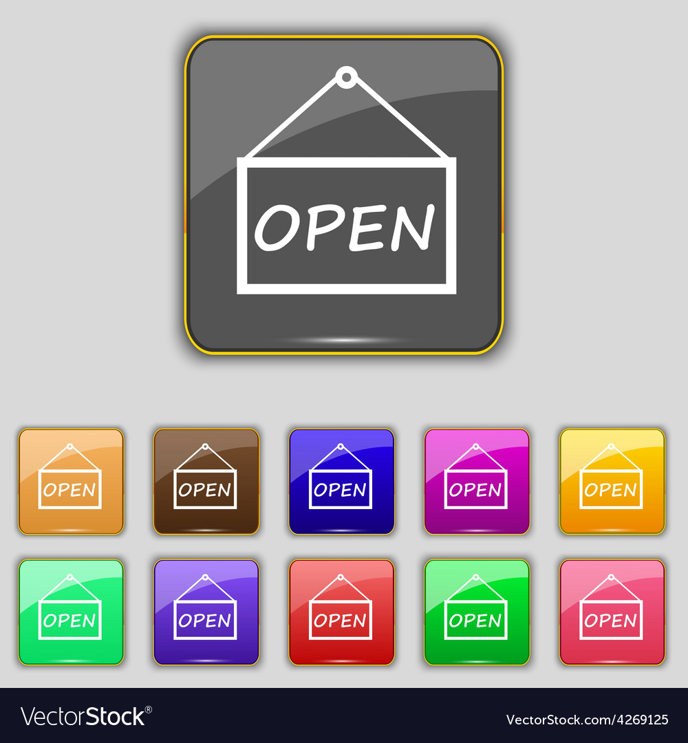 Open icon sign set with eleven colored buttons for vector | Price: 1 Credit (USD $1)