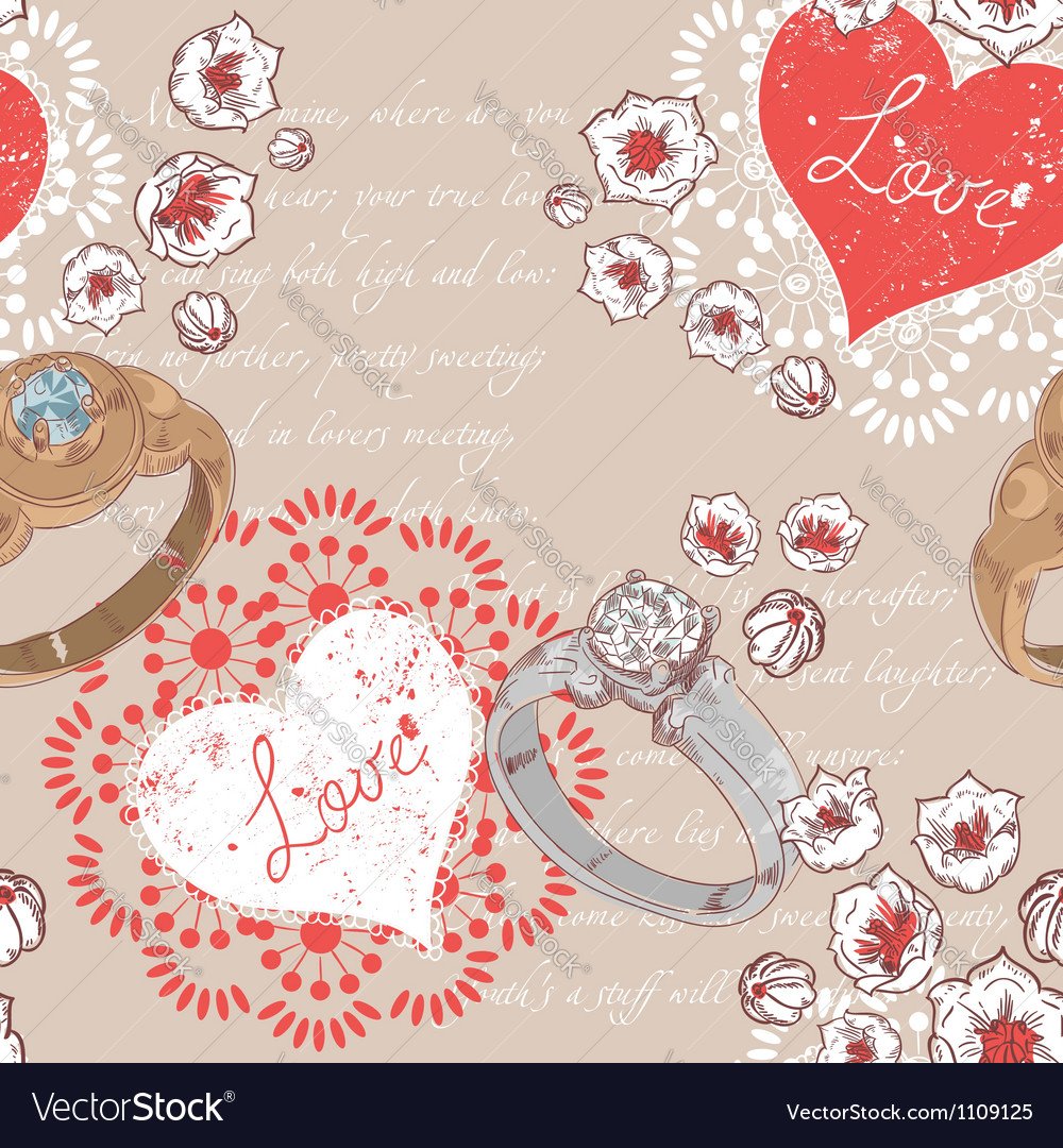 Valentine retro seamless pattern with wedding ring vector | Price: 1 Credit (USD $1)