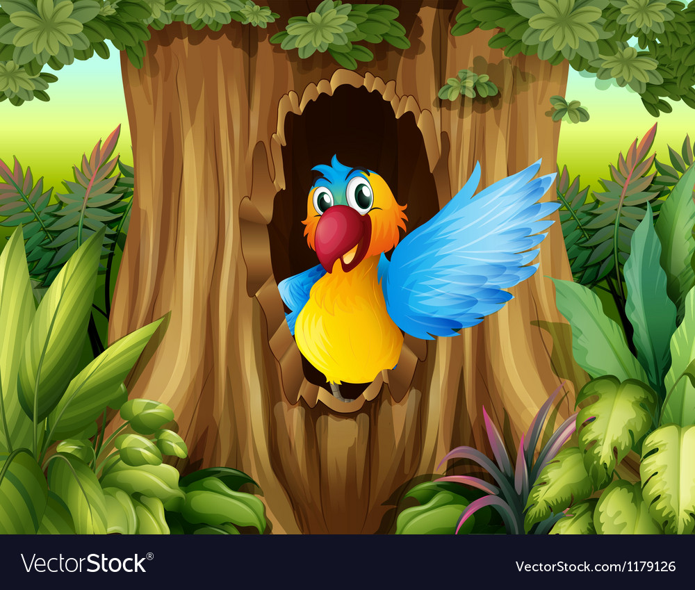 A bird in a tree hollow vector | Price: 1 Credit (USD $1)