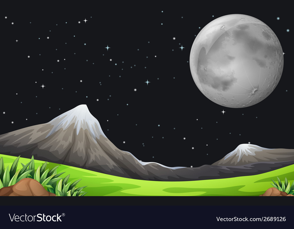 A dark sky with sparkling stars and a bright moon vector | Price: 1 Credit (USD $1)