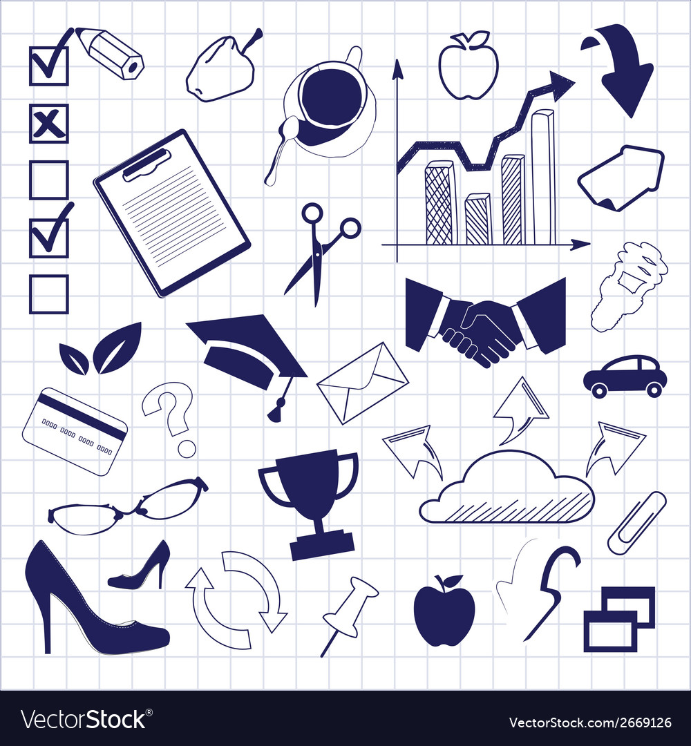 Business doodles seamless pattern background vector   Price: 1 Credit (USD $1)