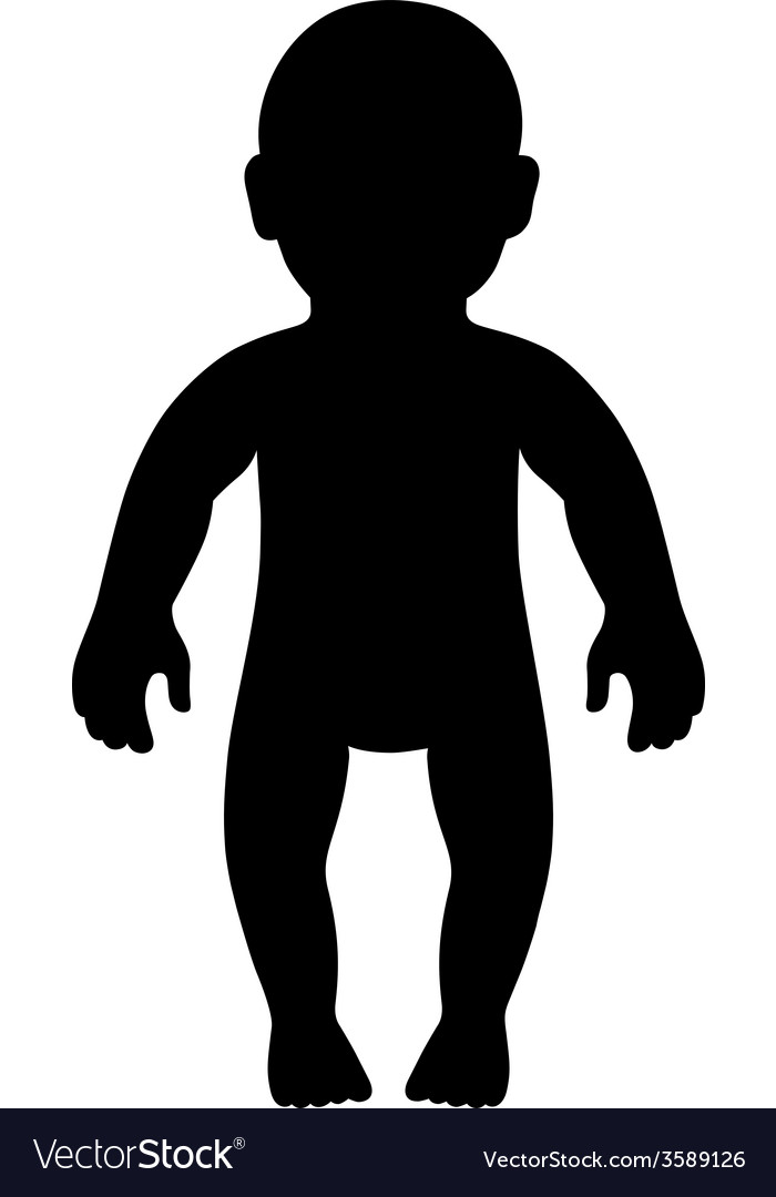 Full length front view standing baby silhouette vector | Price: 1 Credit (USD $1)