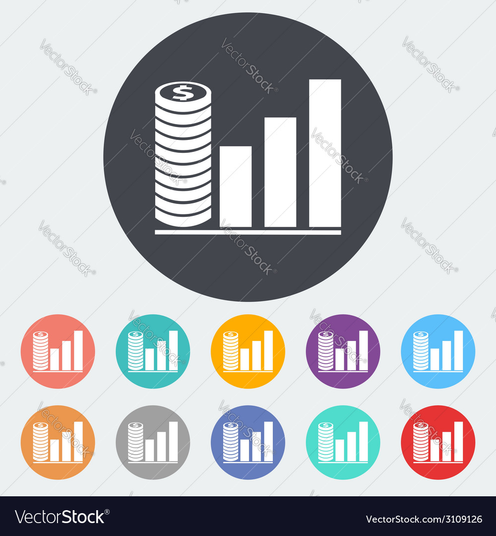 Graph flat single icon vector | Price: 1 Credit (USD $1)