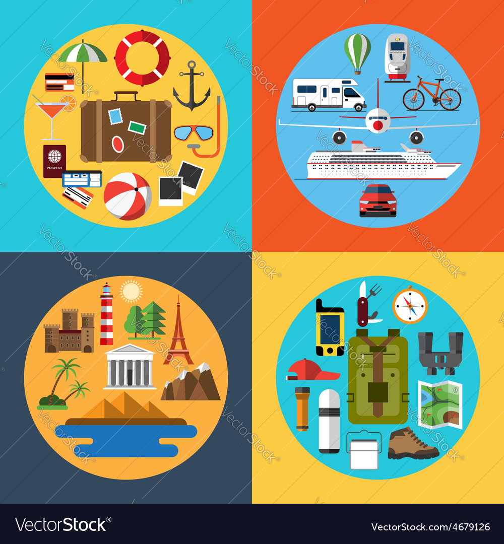 Icons set of traveling tourism hiking vector | Price: 1 Credit (USD $1)