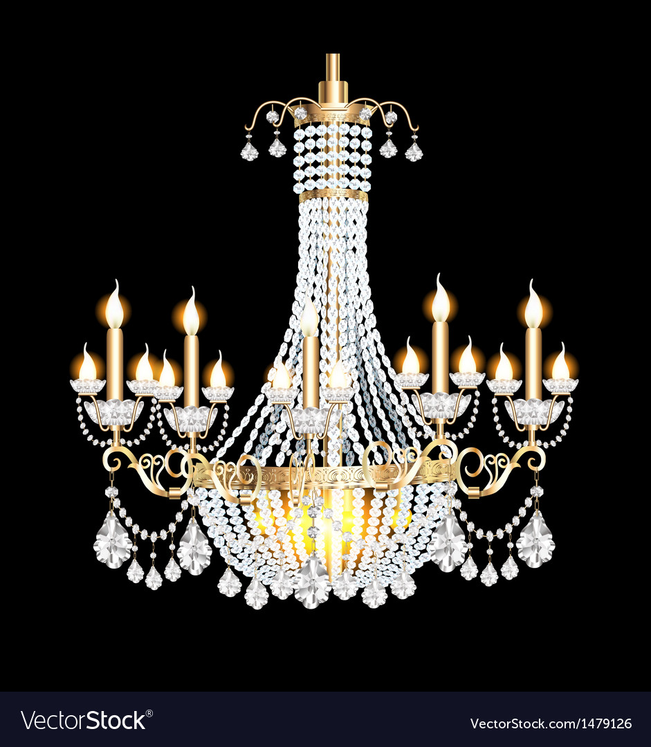 Modern chandelier with crystal pendants vector