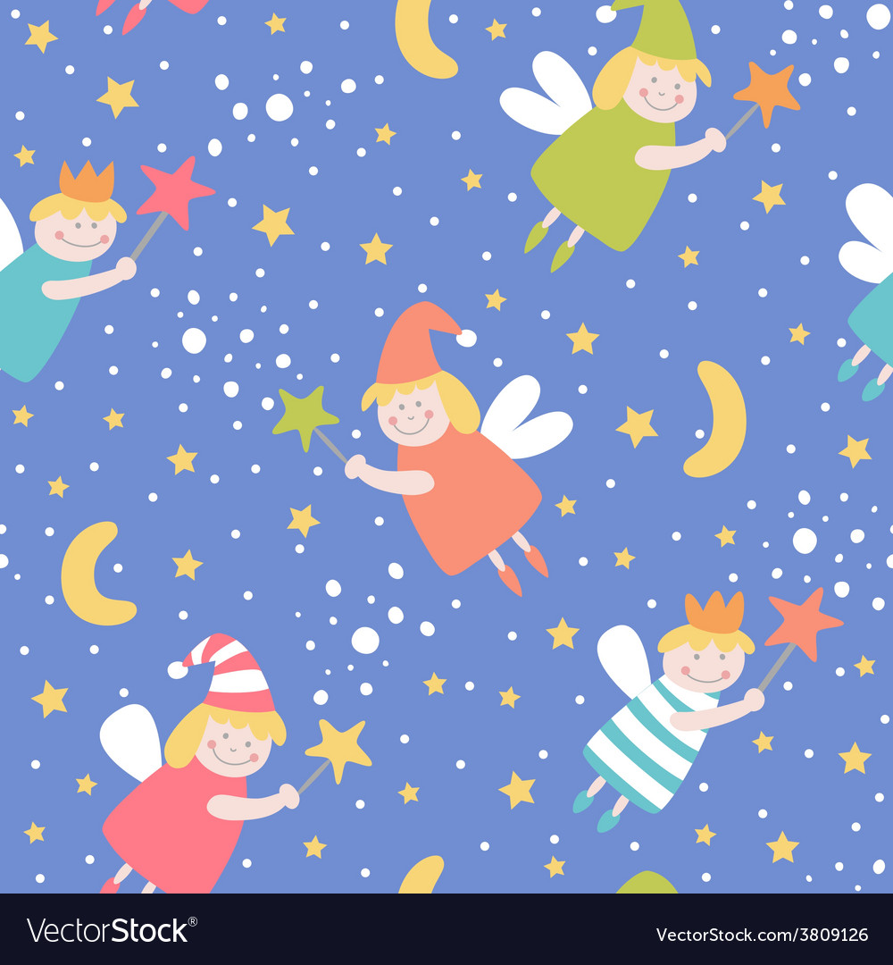 Seamless pattern with sleep fairies vector | Price: 1 Credit (USD $1)