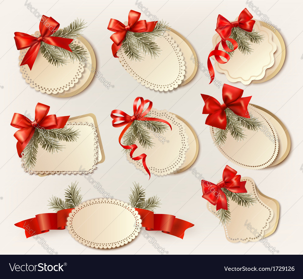 Set of christmas gift cards with red gift bows vector | Price: 1 Credit (USD $1)