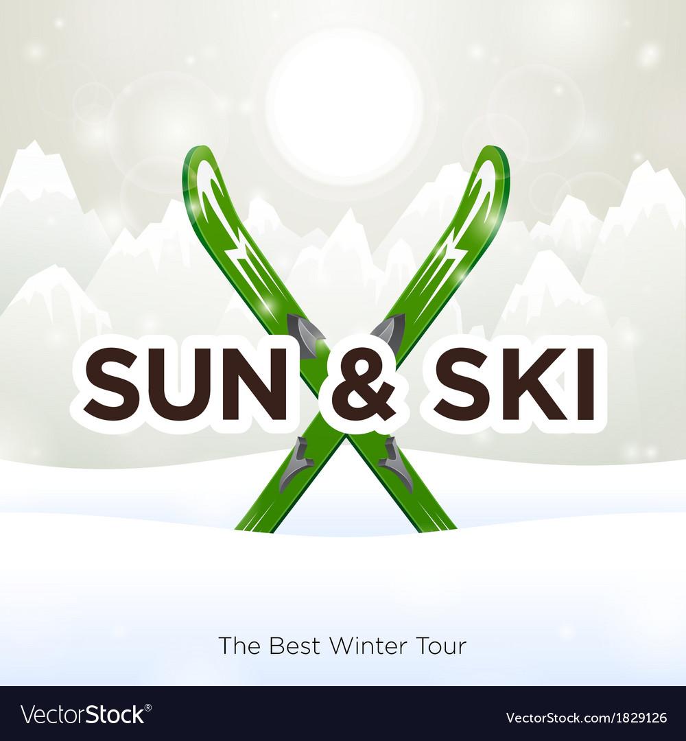 Sun ski and sun snow background vector   Price: 1 Credit (USD $1)