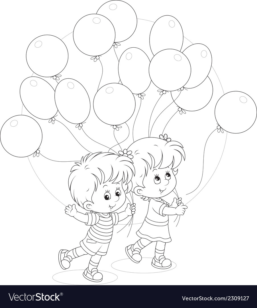 Children with balloons vector | Price: 1 Credit (USD $1)