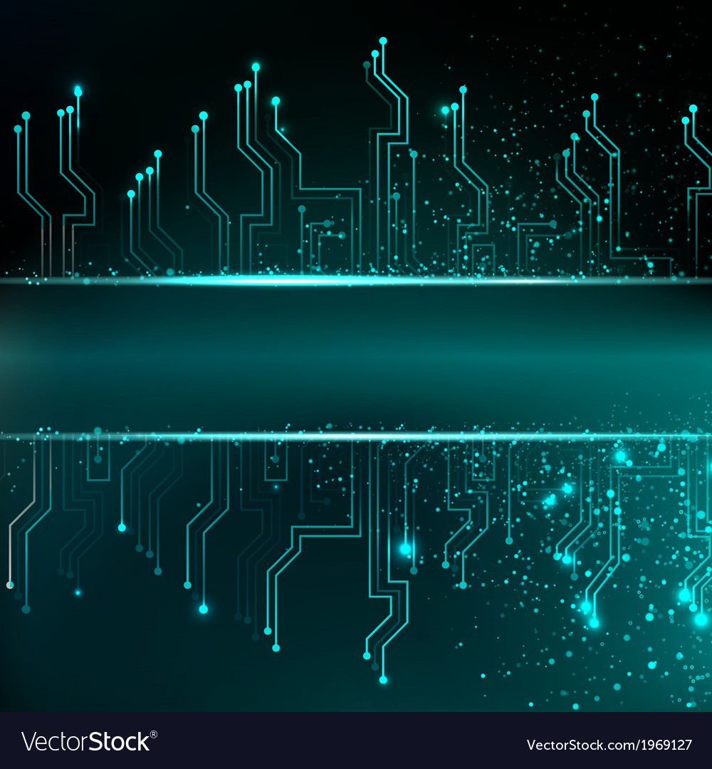 Circuit board background with blue electronics vector   Price: 1 Credit (USD $1)