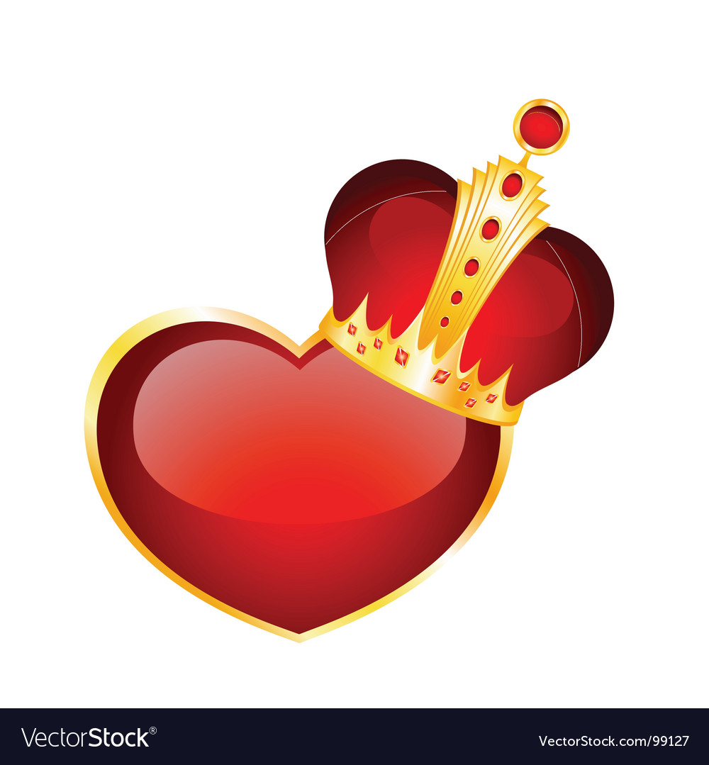 Crown and heart vector | Price: 1 Credit (USD $1)