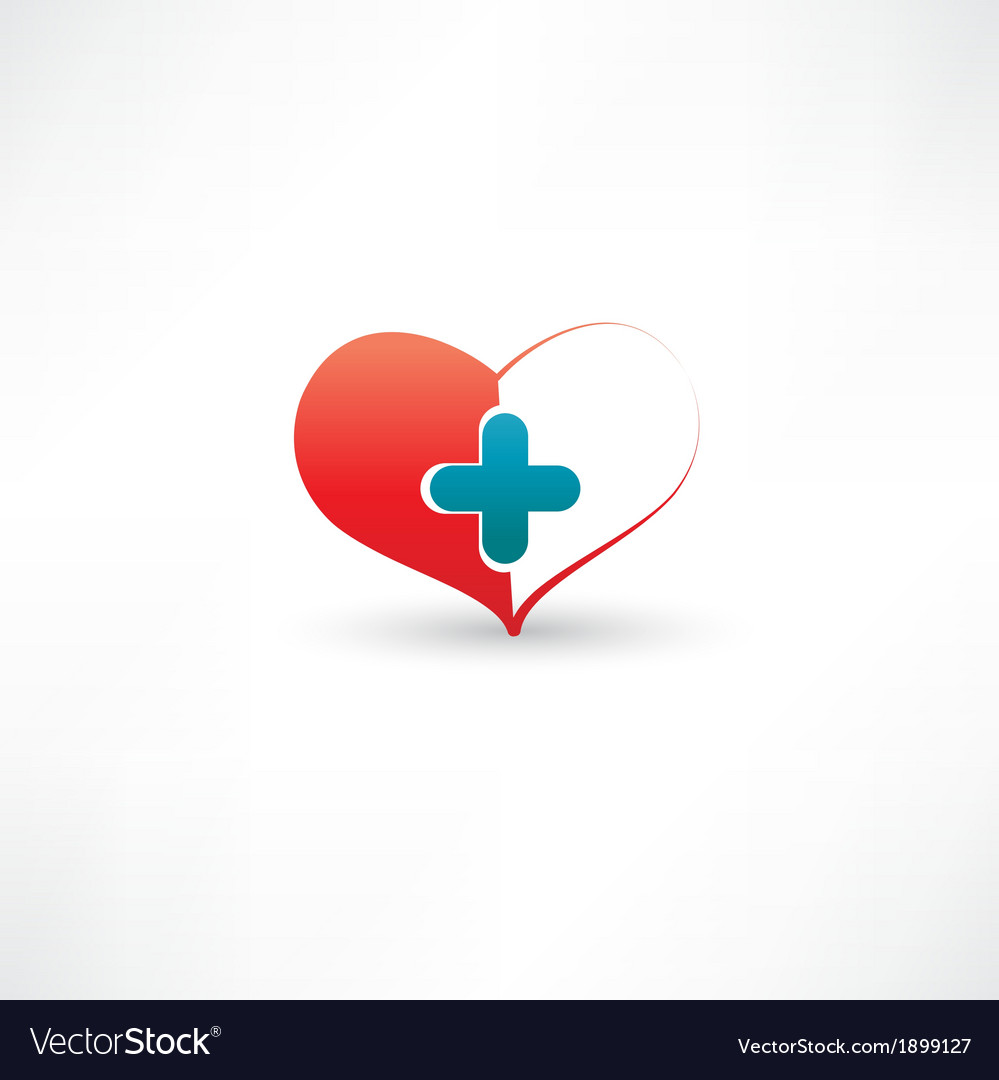 Heart and medical cross vector | Price: 1 Credit (USD $1)