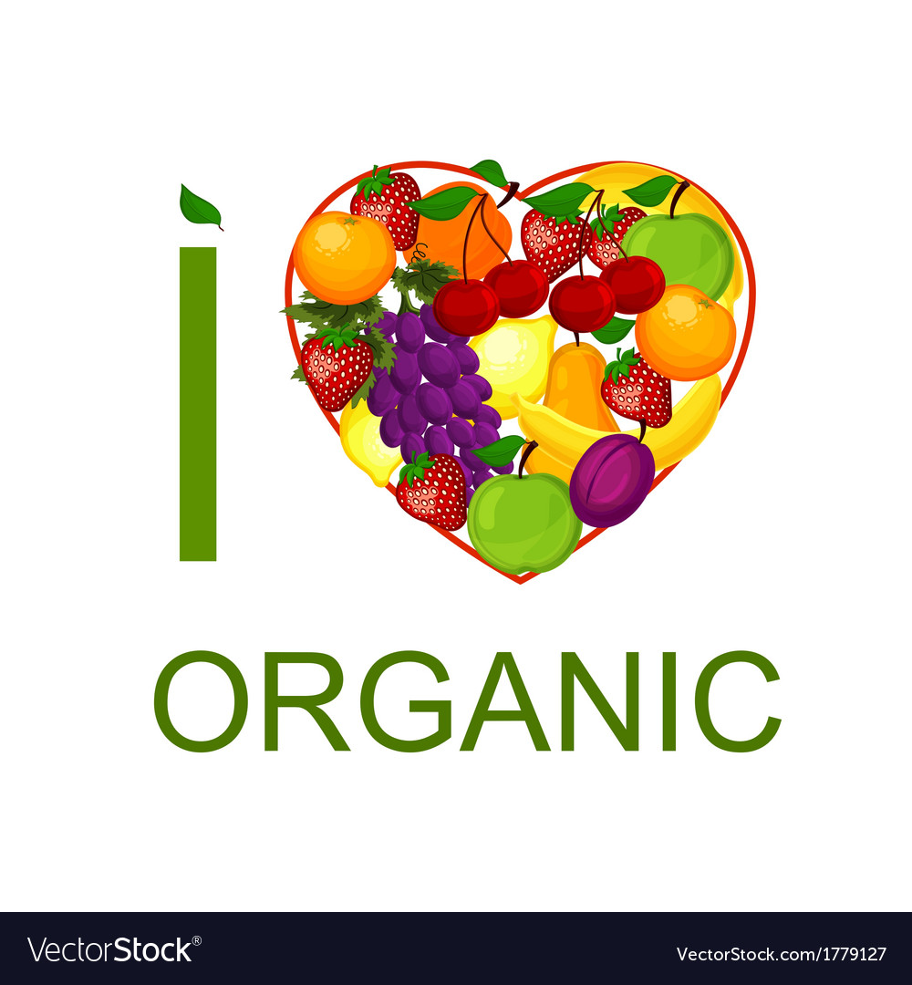 I love organic food an vector | Price: 1 Credit (USD $1)