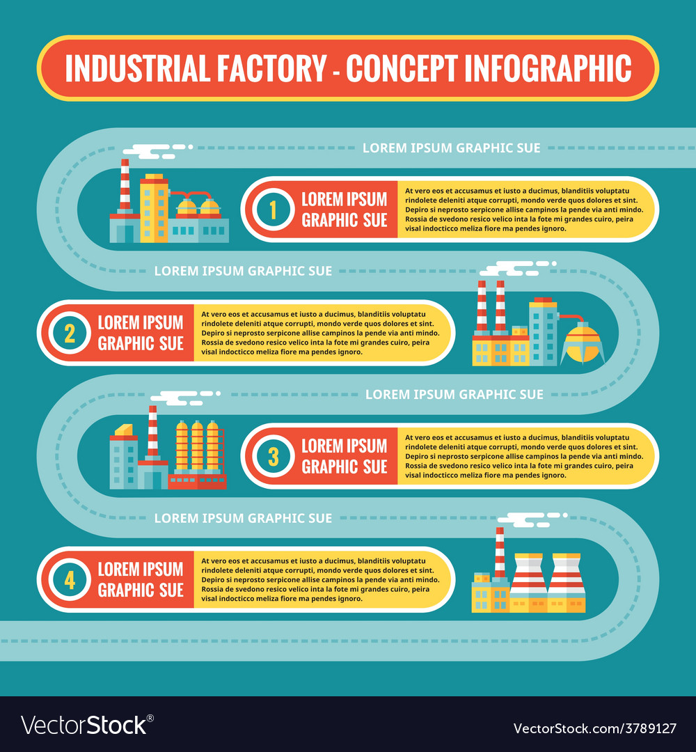 Industrial factory - infographic business concept vector | Price: 1 Credit (USD $1)