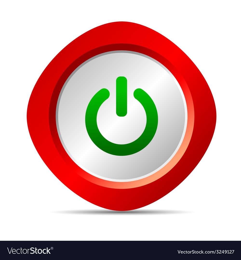 Power button in red color vector | Price: 1 Credit (USD $1)