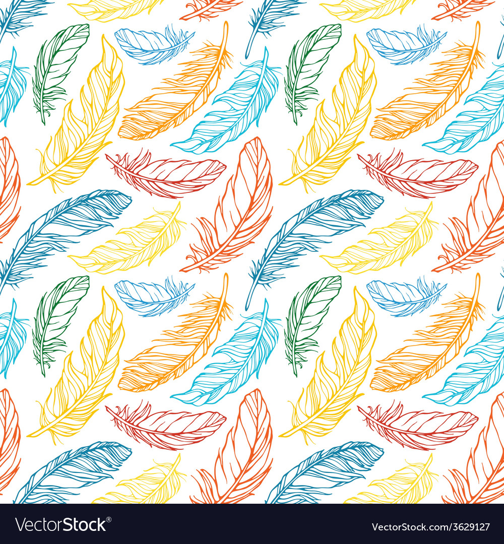 Seamless pattern with decorative feathers vector | Price: 1 Credit (USD $1)