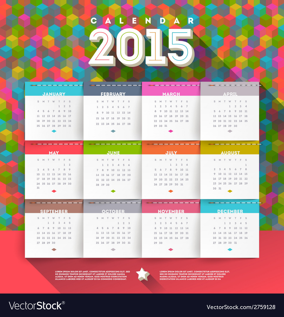 Abstract multicolored calendar of 2015 vector | Price: 1 Credit (USD $1)