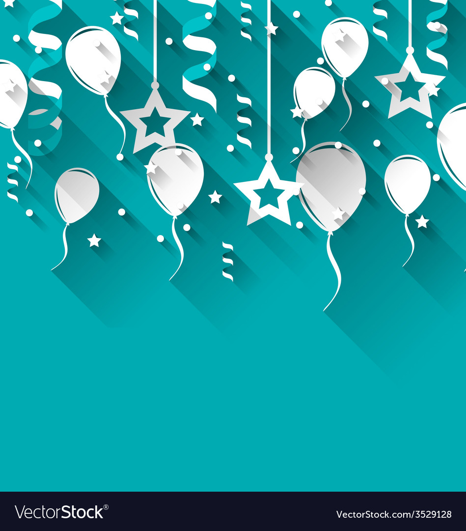 Birthday background with balloons stars and vector | Price: 1 Credit (USD $1)