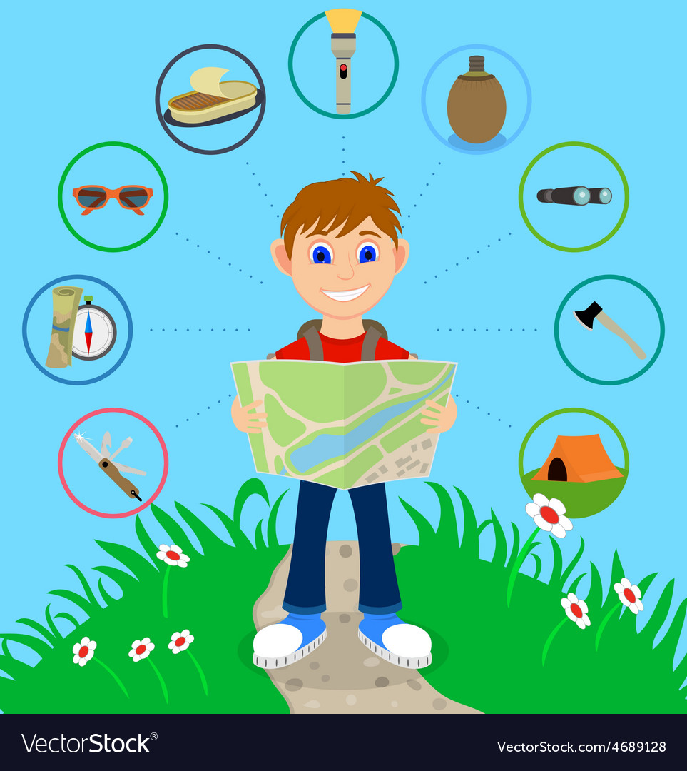Cartoon traveler with a large backpack vector   Price: 1 Credit (USD $1)