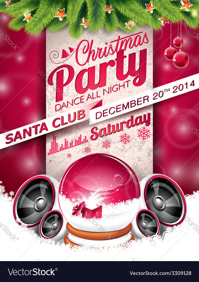 Christmas party design with holiday elements vector | Price: 5 Credit (USD $5)