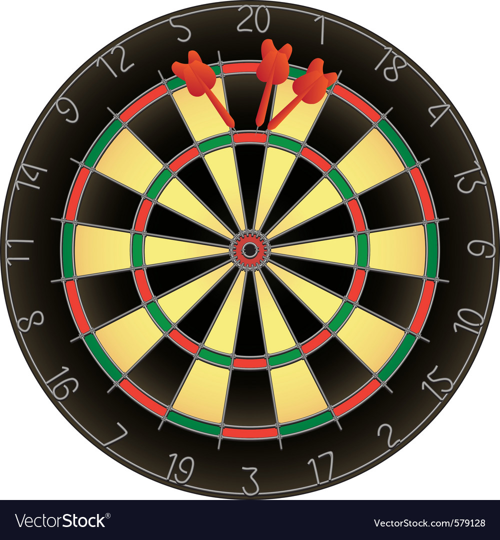 Dartboard and darts vector | Price: 1 Credit (USD $1)