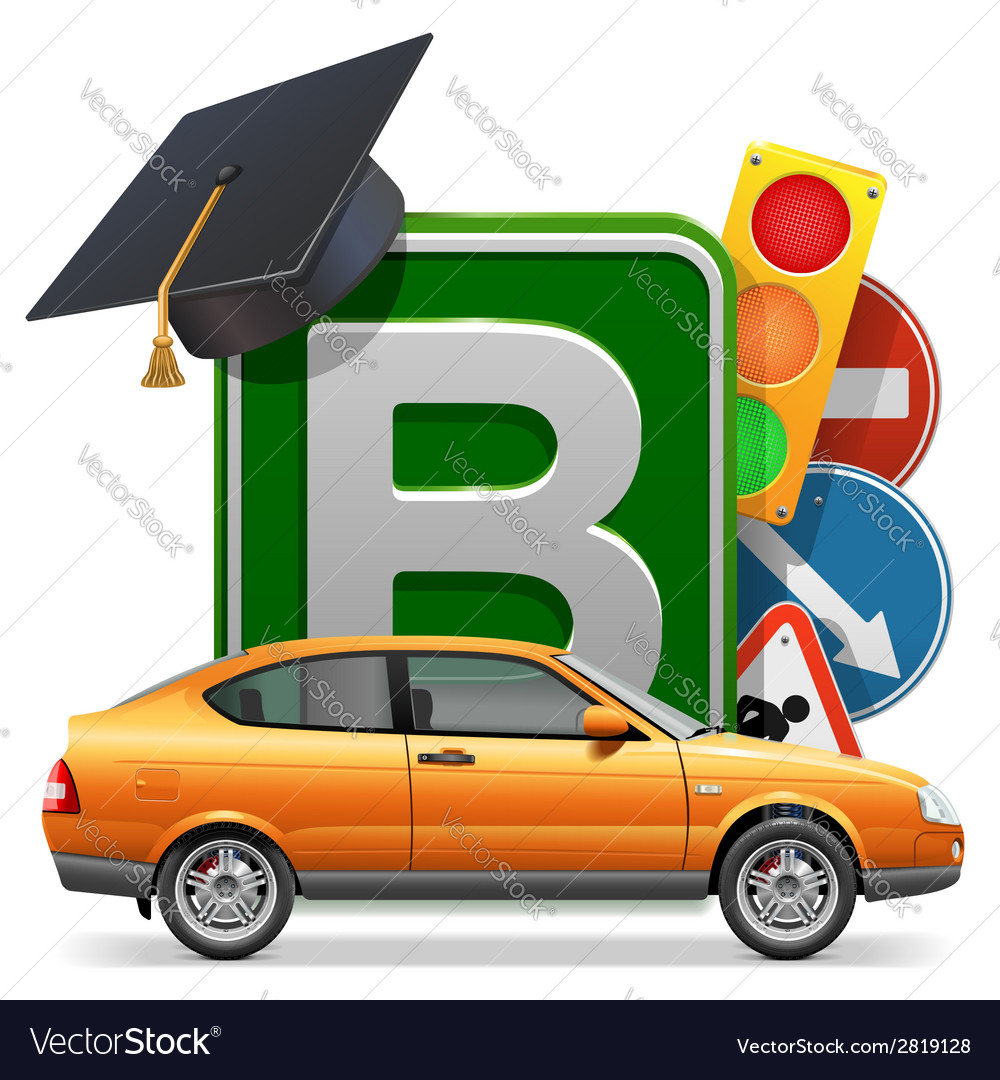 Driving school concept with car vector | Price: 1 Credit (USD $1)