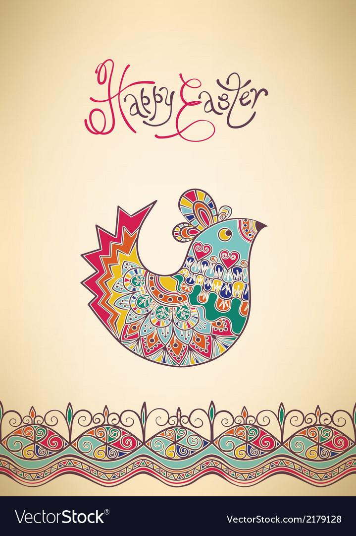 Easter card ethnic chick hand-drawn typography vector | Price: 1 Credit (USD $1)