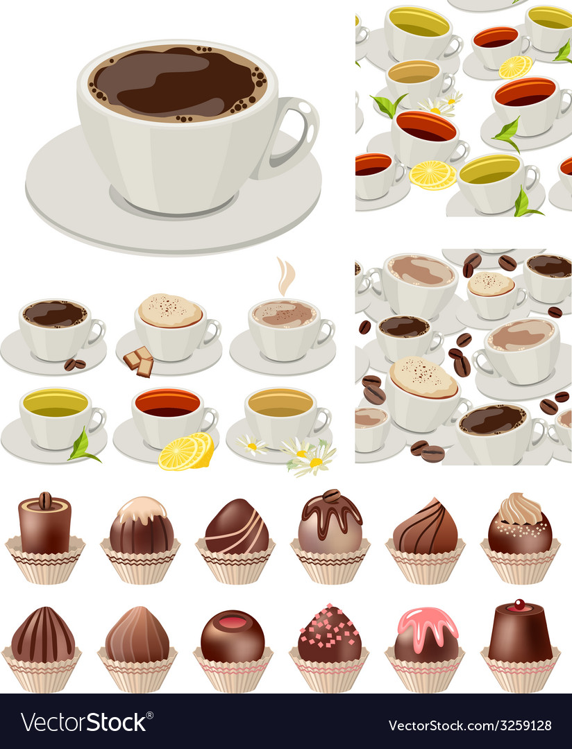 Ig realistic set with cups of tea and coffee vector | Price: 1 Credit (USD $1)