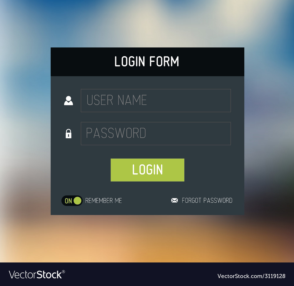 Login form template design vector | Price: 1 Credit (USD $1)