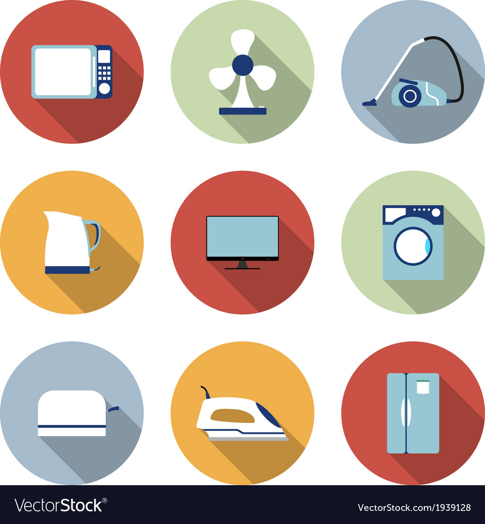 Set of household appliances icons vector | Price: 1 Credit (USD $1)