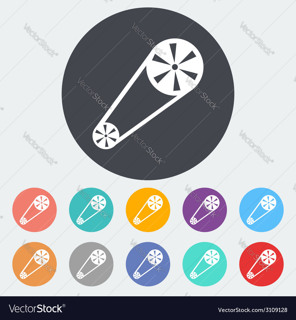 Timing belt flat icon vector | Price: 1 Credit (USD $1)