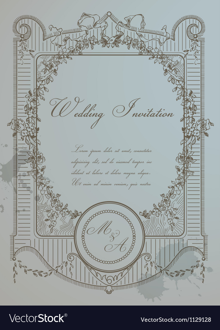 Vintage wedding card vector | Price: 1 Credit (USD $1)