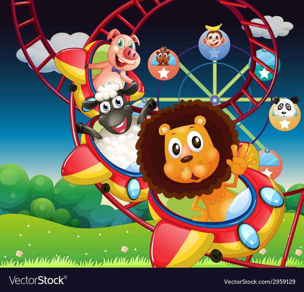 Animals and rollercoaster vector | Price: 3 Credit (USD $3)