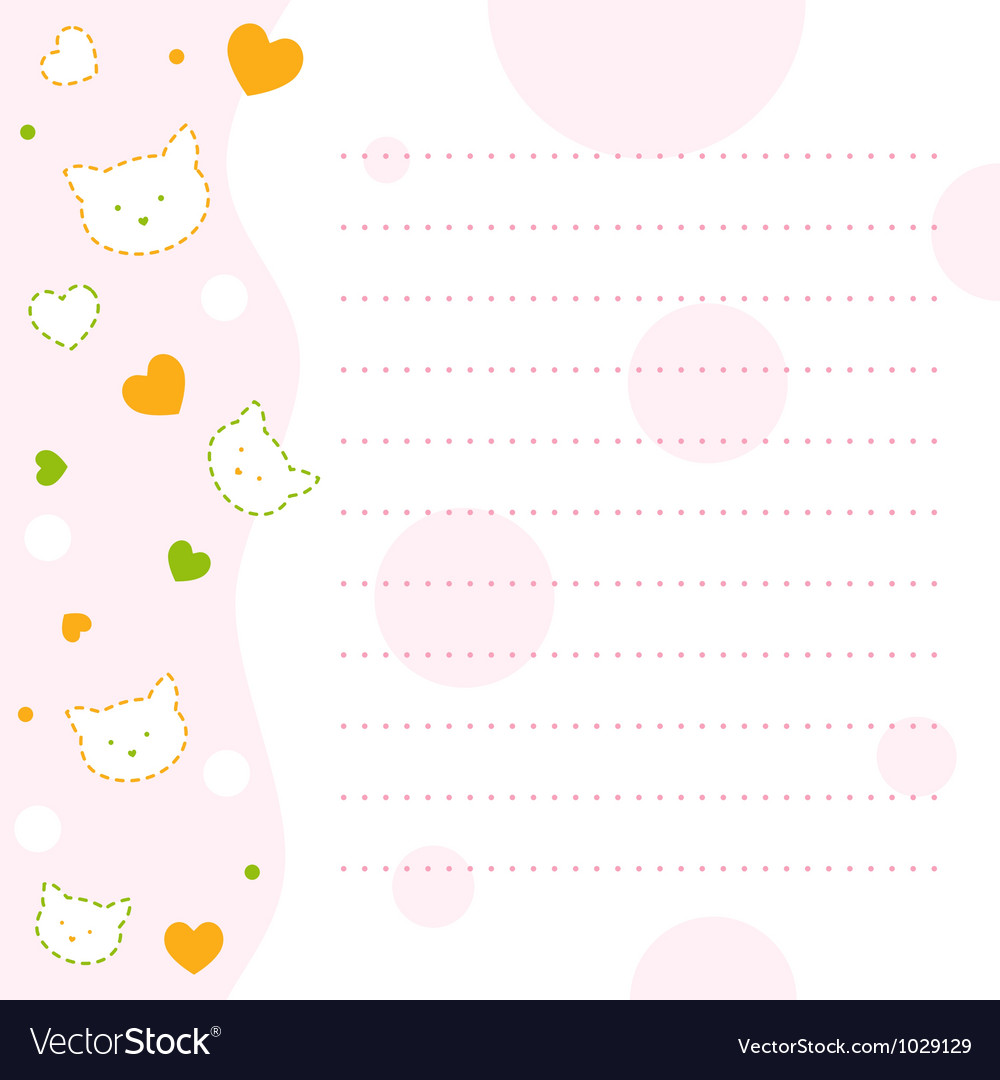 Baby kitty notepad paper vector | Price: 1 Credit (USD $1)