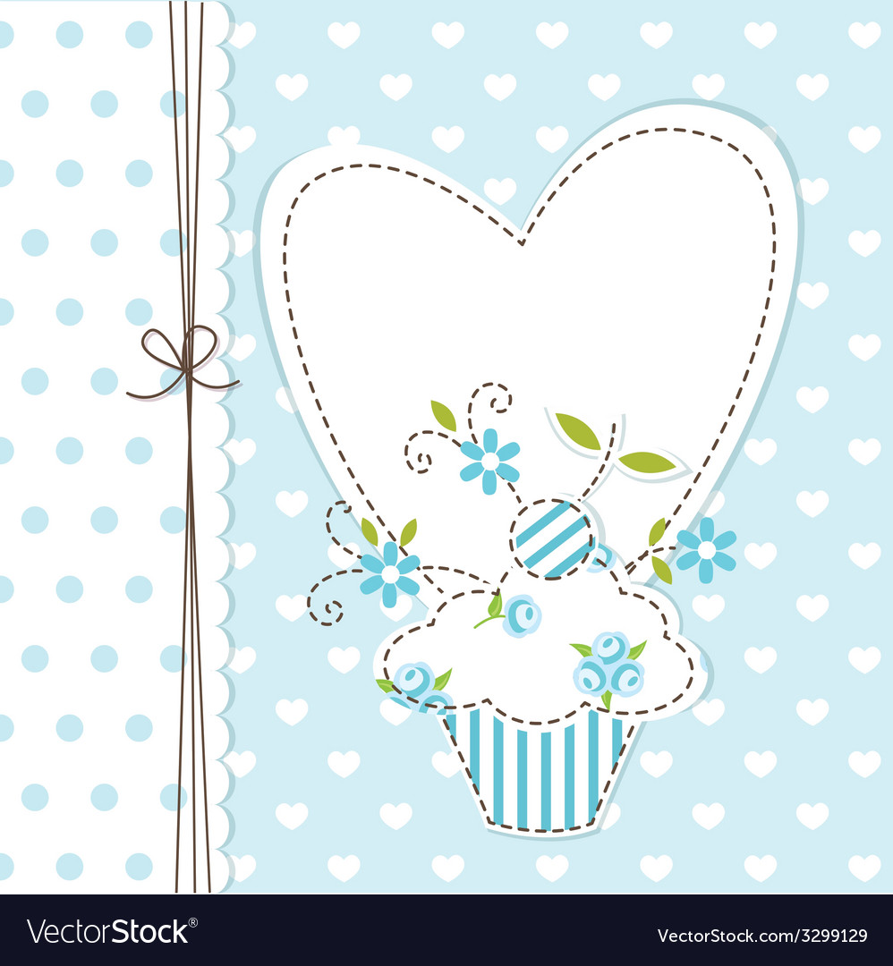 Blue cupcake background vector | Price: 1 Credit (USD $1)