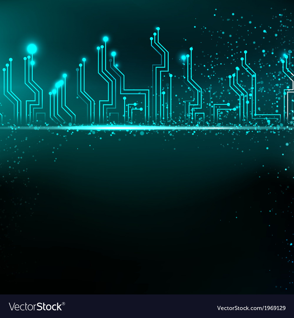 Circuit board background with blue electronics vector | Price: 1 Credit (USD $1)