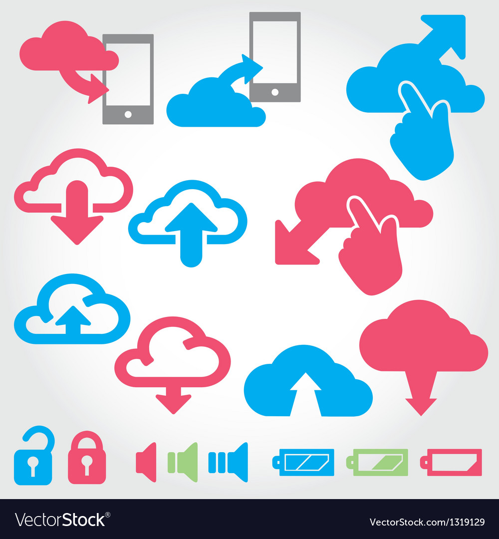Cloud app icon on mobile phone icons set vector   Price: 1 Credit (USD $1)